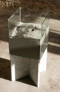 Juliane Solmsdorf A falling Water, 2010 Glass, marble, sand, urine, 29x30x68cm