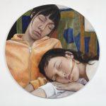 Mädchen aus den Westlanden, 2005 Oil on wood, 100 cm in diameter