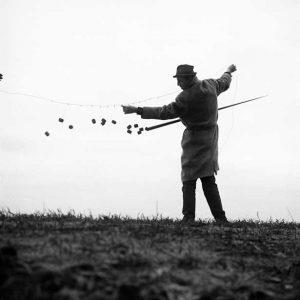 Edward Krasinski with Dzida (spear), 1964, Photo: Eustachy Kossakowski